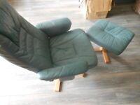 Chair & Foot Stool Green