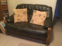 2 seater sofa (green leather)