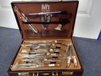 New 24 piece cutlery set in leather case
