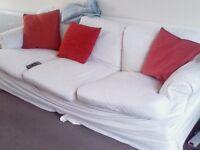 Light cream 3 seater sofa