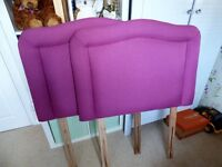 Single Headboards x 2. Pink, in excellent condition. 92cm (W) x 66cm (H).