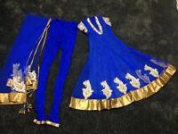 Blue anarkali party suit