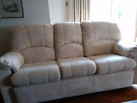 3 piece suite with 2 reclining chairs. Cream chenille