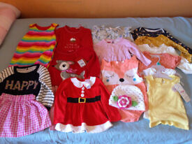 Baby Girls 9-12 Months Bundle Jumpers Dresses Skirts T-Shirts Vest Some New Xmas Will Post
