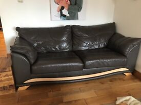 3/4seater leather sofa matching stool