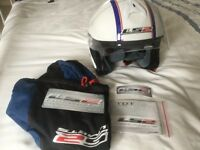 TDT WHITE MOTORCYCLE OPEN FACE HELMET WITH VISOR SIZE SMALL