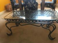 Coffee table (glass and metal)
