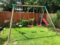 Little tikes triple garden swing set with 4 attachments