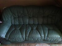 Sage green leather very comfortable 3-2-1 suite .