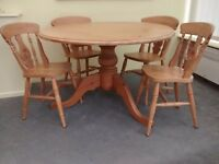 For Sale: Solid Pine Round Dining Table with 6 Chairs