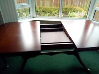 Drop leaf mahogany table and six chair set