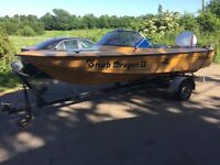 Speed Boat with Engine & Trailer, Ready to Go