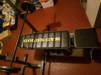 Adjustable weights bench, weights, bar, Adjustable squat rack stand and dumbbells