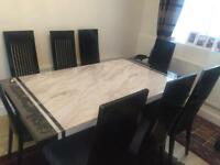 MARBLE DINING TABLE WITH (8) CHAIRS