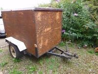 """Box Trailer; 50"""" wide, 49"""" high, 75"""" long. Carpeted inside. Roof needs attention."""