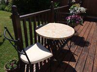 Mosaic Circular Table c/w 2 Chairs
