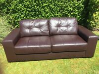 2 brown leather effect sofas - larger style 2 seaters