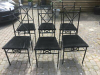 6 Wrought Iron Dining Table Chairs with Soft Black Velour Cushion Seat