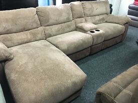 New/Ex Display LazyBoy Cord Double Recliner Sofa + Media Tray + Chaise