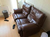 2 seater reclining brown sofa comfortable
