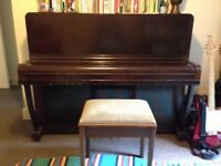 Upright piano going free - all keys working, perfect for beginners, beautiful piece of furniture.