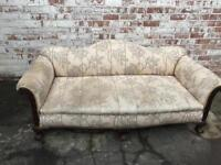 Antique camel back ball & claw feet sofa