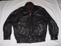 Men's Genuine Leather, Classic Bomber-style casual Black Jacket, lined.