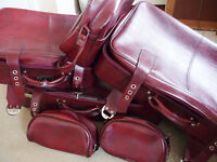 Vintage retro luggage set; style faux leather. excellent condition various sized suitcases