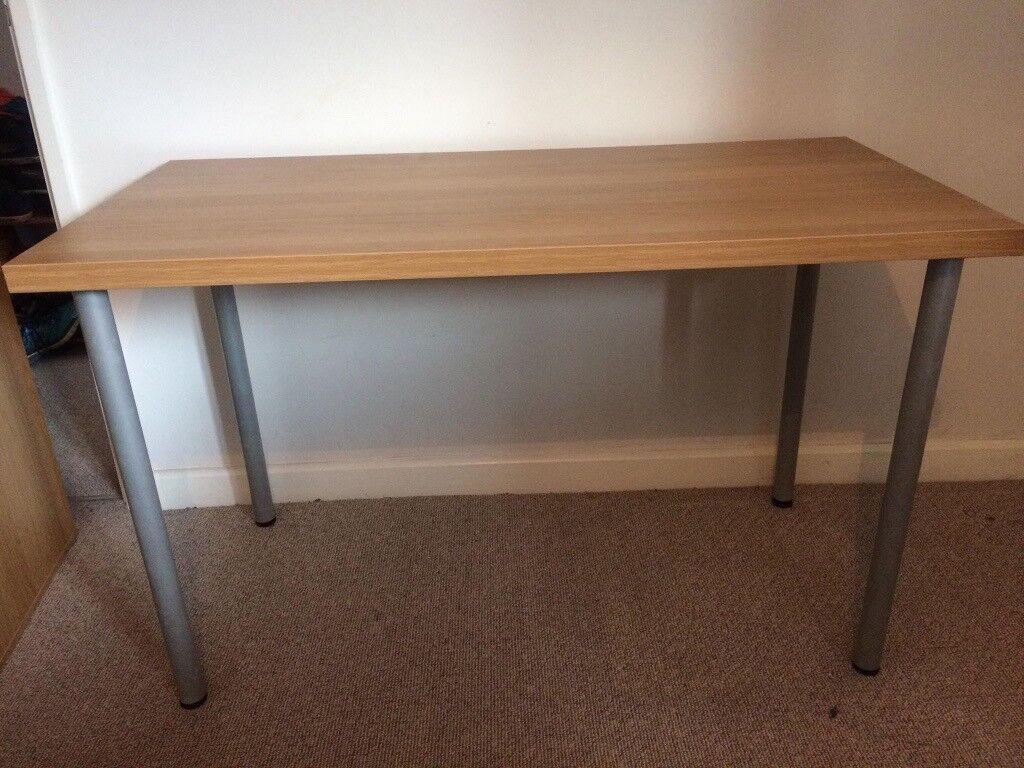 Ikea linnmon oak effect desk with desktop shelf in good condition