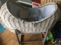 Moses basket comes with brand new Moses sheets unopened