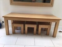 Unique Solid Oak Kitchen Table and 3 solid oak stools