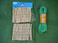 Brand New 15 Metre Clothes Line Rope and 60 Wooden Clothes Pegs - All for £2.00