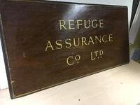 Large vintage original insurance sign