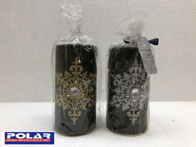 Luna Lumia Pillar Candle with Glitter Snowflake, Rhinestone Design BLK GLD / SLV Design Pillar Candle