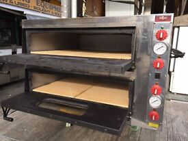 """SERVICED CATERING COMMERCIAL PIZZA OVEN DOUBLE DECK 8 X 13"""" RESTAURANT BBQ KEBAB KITCHEN SHOP TYPE"""