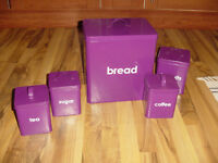 Argos Bread Bin and Canister set in purple colour