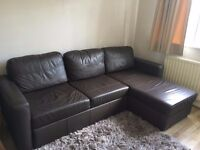 L Shape Brown Leather Sofa & Sofa Bed - from John Lewis