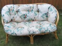 Cane/WickerTwo Seater Sofa ideal Conservatory garden floral design cushions