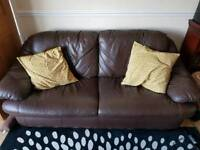 Three seater and two seater leather sofa