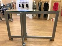 Ex-Retail Silver Gondola With Glass Top For Sale