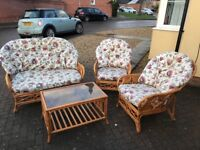 Brown cane conservatory furniture