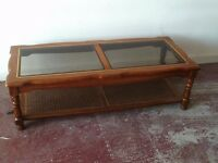 Large Wood & Glass Coffee Table With Wicker Shelf