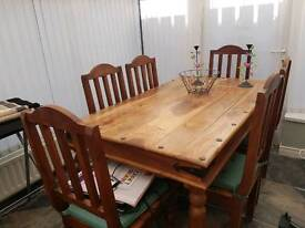 Solid wood mexican pine dining set
