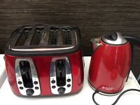 Russell Hobbs red kettle & toaster