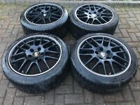 Genuine Porsche Panamera 20 Inch RS Spyder Design Wheels in Black with Winter Tyres.