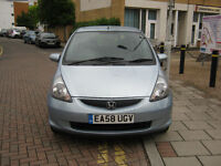 58 reg 2008 honda jazz 1.4 automatic 7 speed, 5 door, blue, 1 lady owner, 12 mot 73k f/s/h, hpi cle