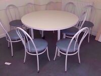 Canteen tables with 6 chairs each. 11 available