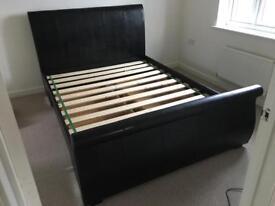 DREAMS KING SIZE Manhattan black bonded leather upholstered bed frame