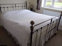 Antique Victorian cast iron and brass bed king size beautiful condition