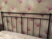 Wrought Iron Feather & Black king size headboard